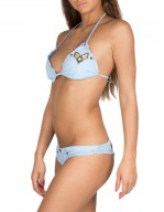 Bikini Triangolo in Jeans con Patch Miltari