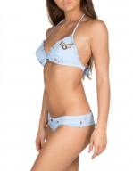 Bikini Brassiere in Denim con patch militari