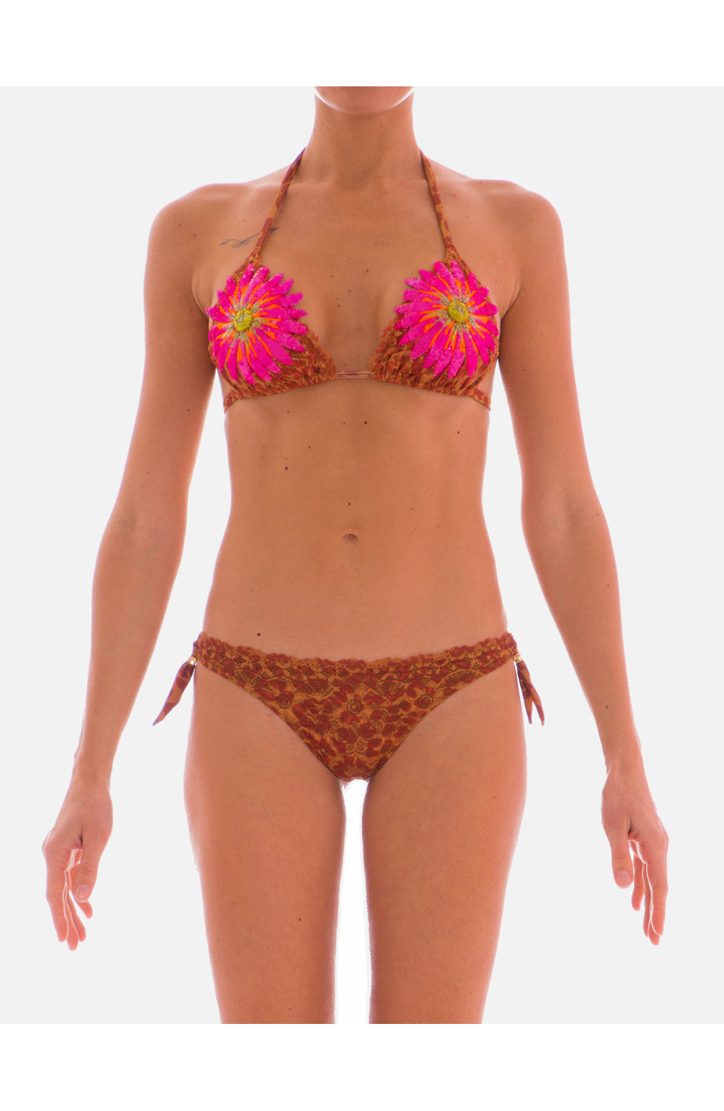 Bikini triangolo scorrevole Gerbera Fluo Animalier