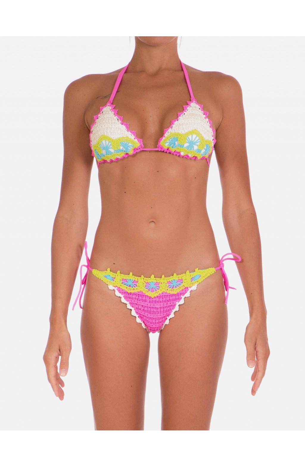 Bikini Triangolo Scorrevole Ricamo Uncinetto