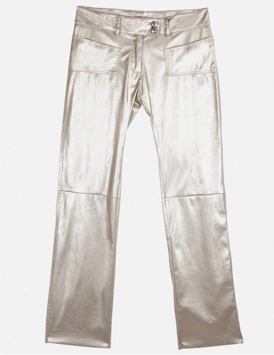 Pantalone in ecopelle spalmatura Platino