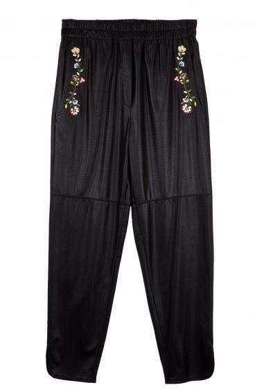 Pantalone sportivo in Eco-pelle e ricami Floreali Pin-Up Stars - 1