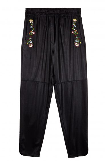 Vegan Leather Gym Pants with Floral Embroidery Pin-Up Stars - 1
