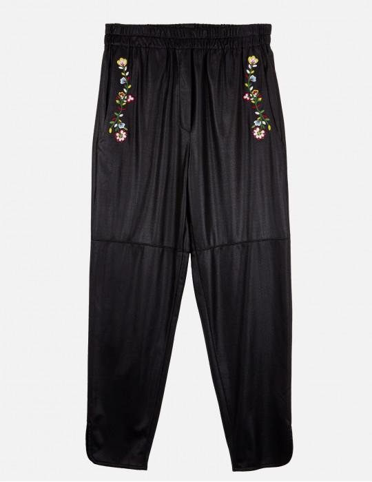 Pantalone sportivo in Eco-pelle e ricami Floreali