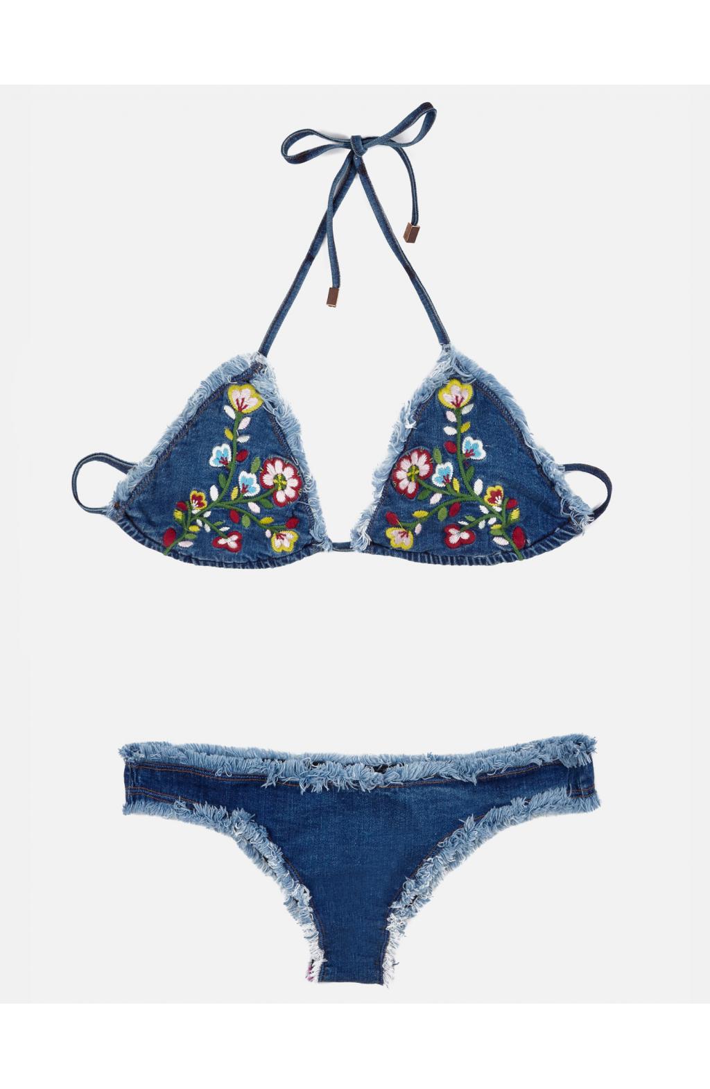 Bikini Triangolo scorrevole Jeans Folk