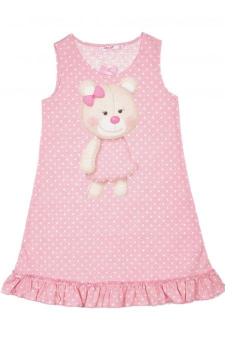 Tender Bear Baby Dress with Frill Hem Pin-Up Stars - 1