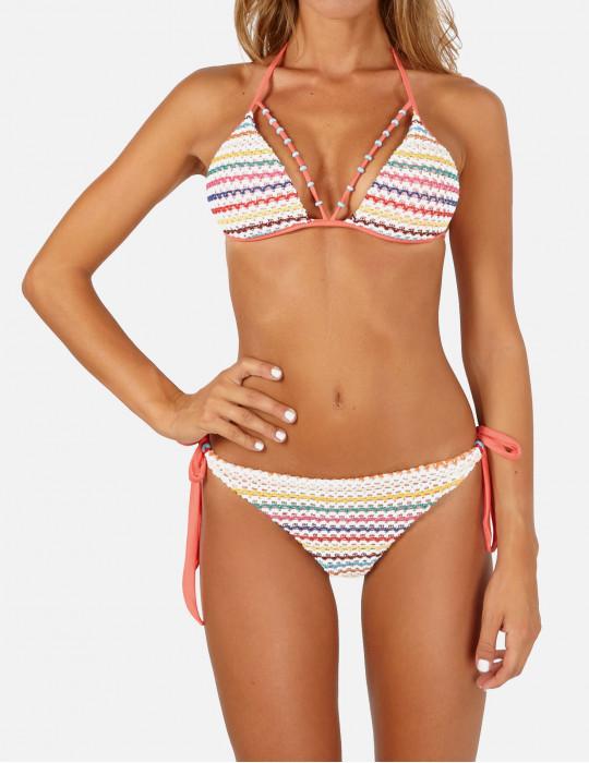 Bikini Triangolo Push-up con decoro cut-out e tessuto uncinetto