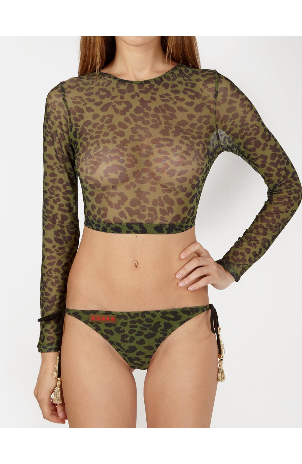 Crop Top in Microtulle Camo Animalier