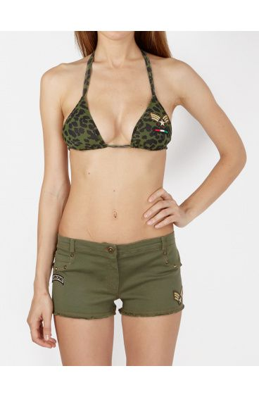 Shorts Denim elasticizzato decori patch militari Pin-Up Stars - 1