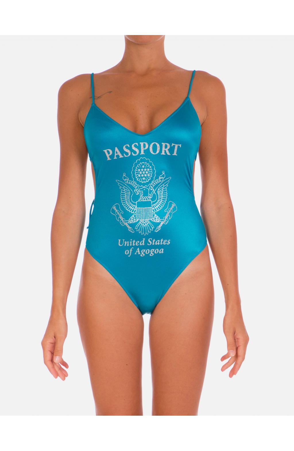 Silver Glitter Passport Swimsuit