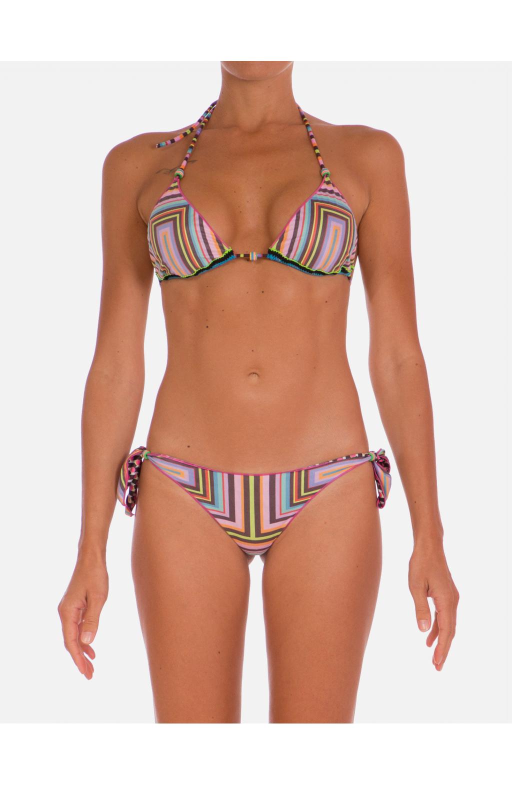 Bikini Triangolo Scorrevole Double Face Riga Cilindri