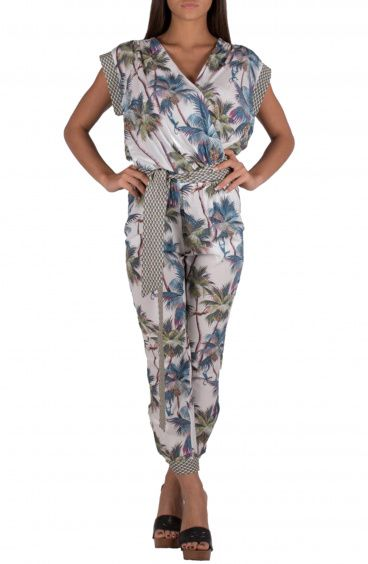 Pure Silk Wrap Jumpsuit Palm Springs print Pin-Up Stars - 8