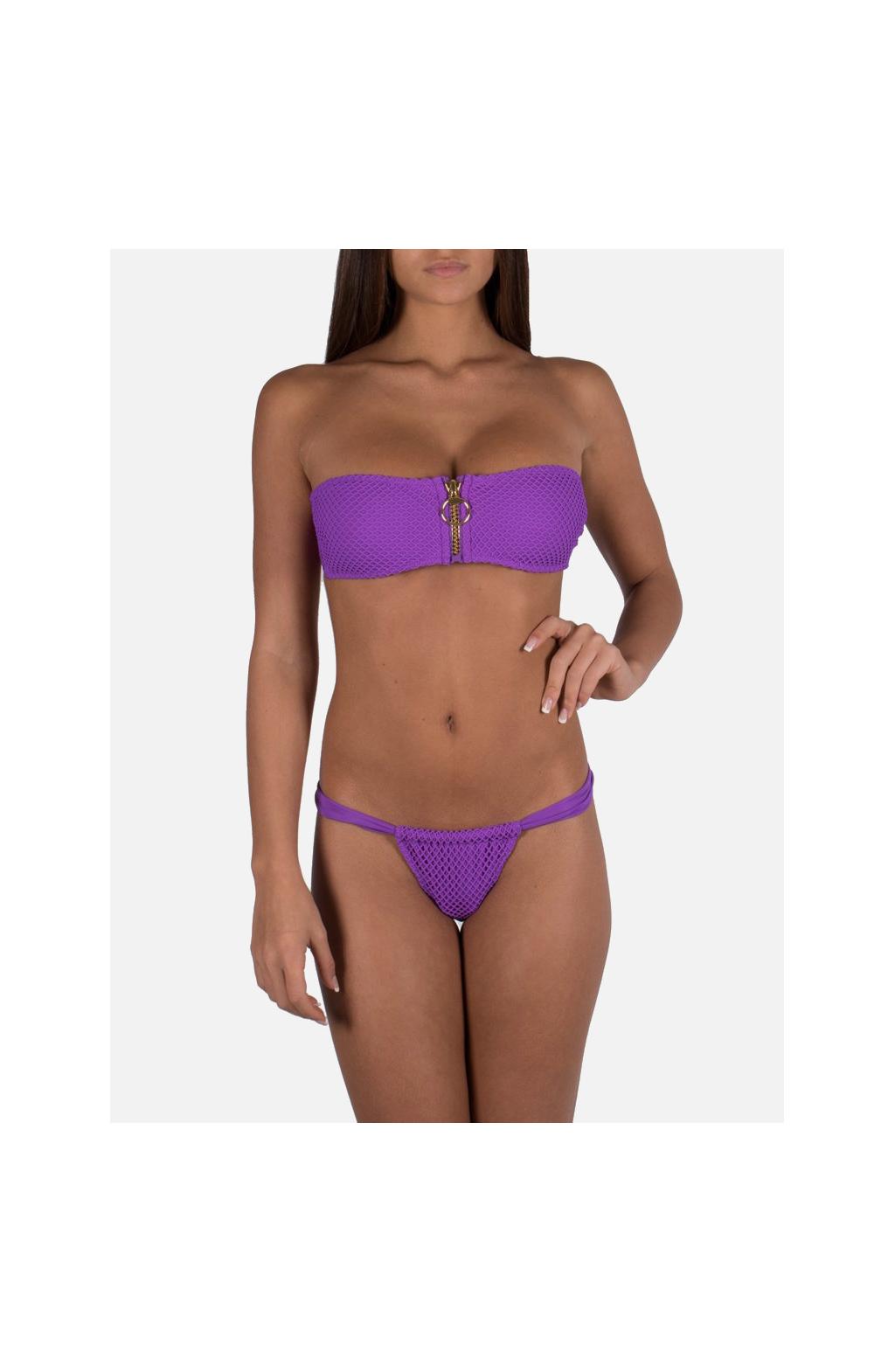 Net Bandeau Bikini with Central Zip