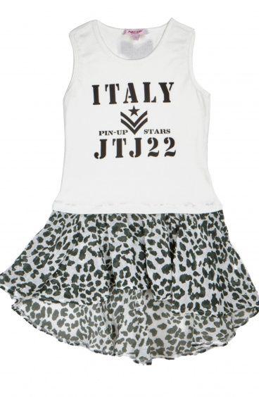 Baby Ribbed Tank Dress with Flounce Skirt Cotton Gauze fabric Animalier Pin-Up Stars - 1