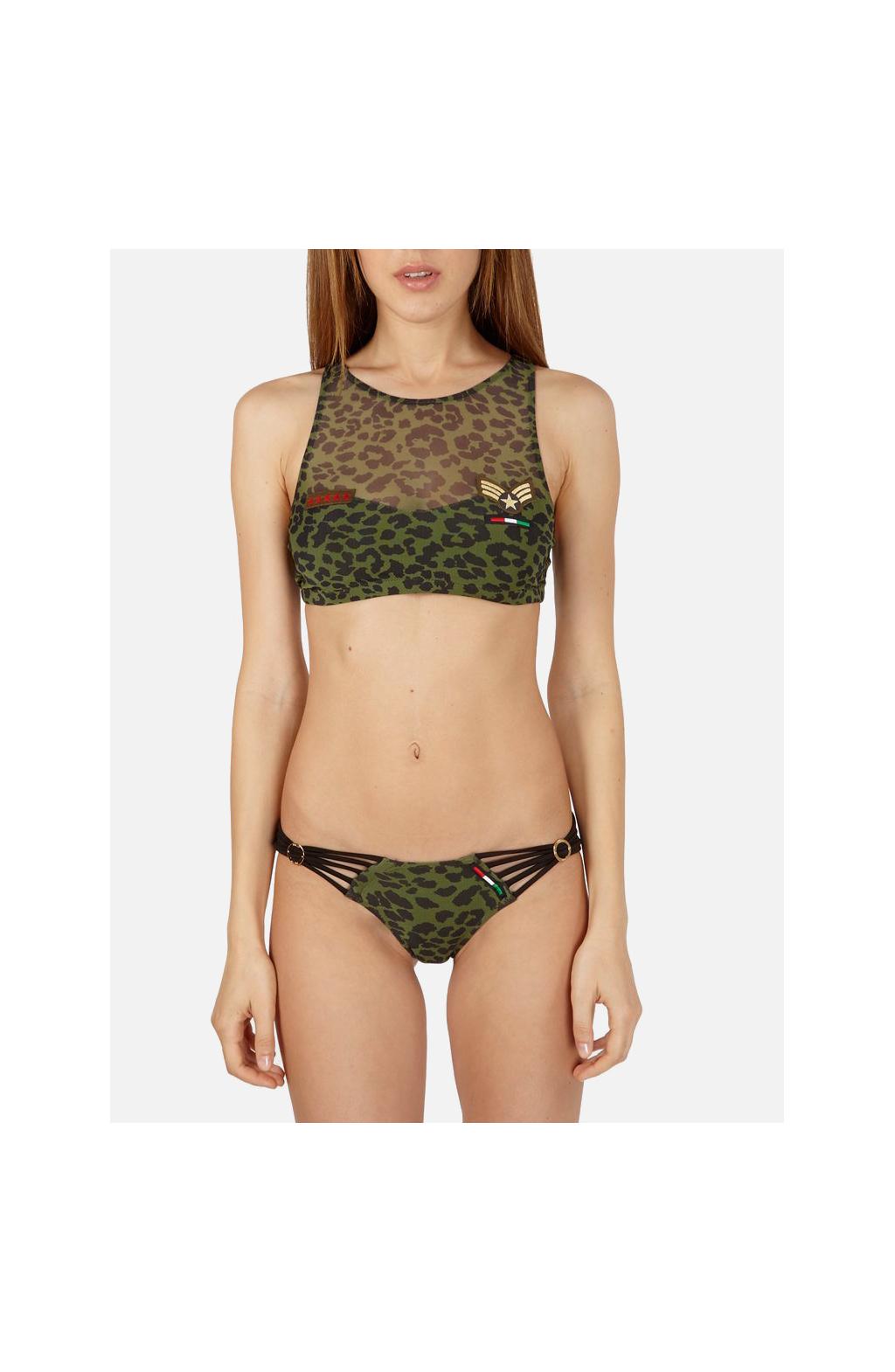 Bikini Crop-Top stampa Camoanimalier con applicazione Mostrine militari