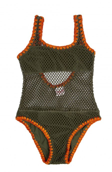 Baby One-Piece Swimsuit Net fabric Shell Stitch Pin-Up Stars - 1