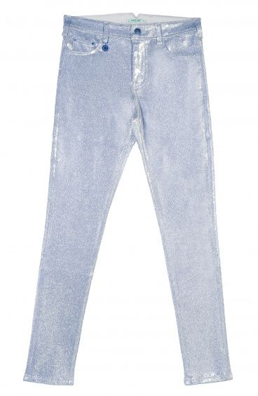 Luminescent Five Pocket Jeans Stretch Canvas fabric with Lurex Yarn Pin-Up Stars - 5