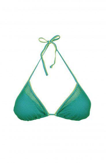 Bikini Triangolo Scorrevole imbottitura Mosca in rete Lurex Poisson D'Amour - 1