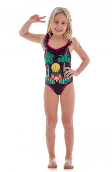 612973fbc5 One Piece Swimsuit with Rouches Jungle Baby Color Black Baby Size 6