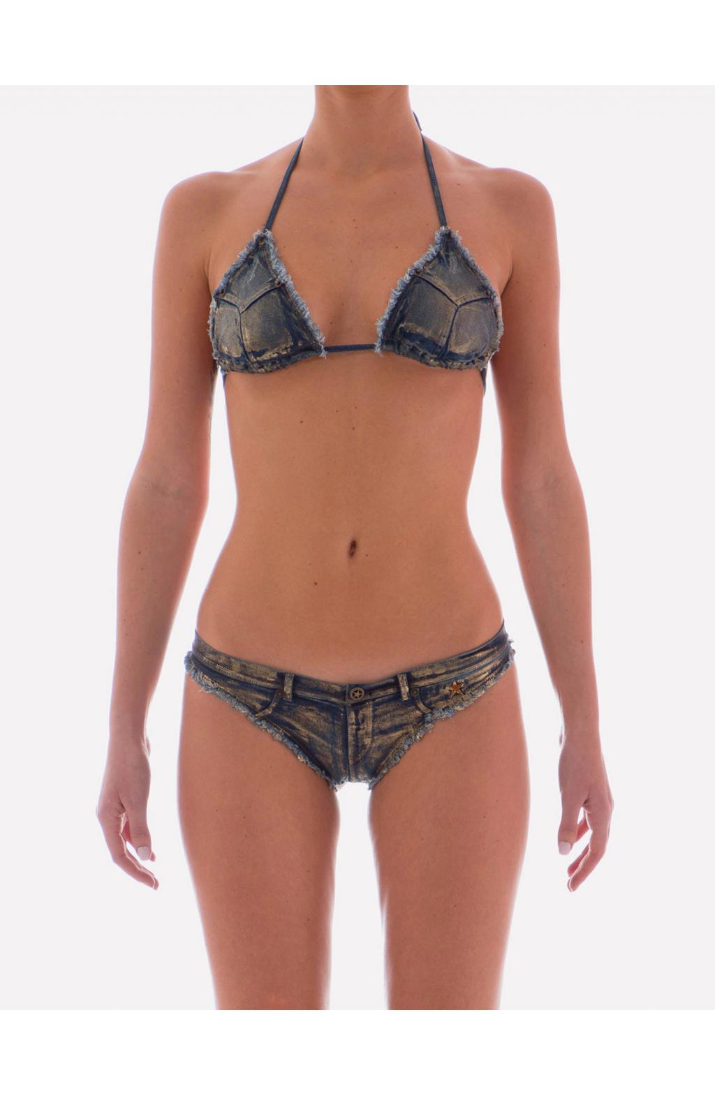Bikini a Triangolo Denim Laminatura Oro