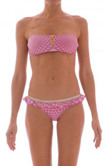 Bikini a Fascia Zip Centrale Pois Optical Agogoa - 1