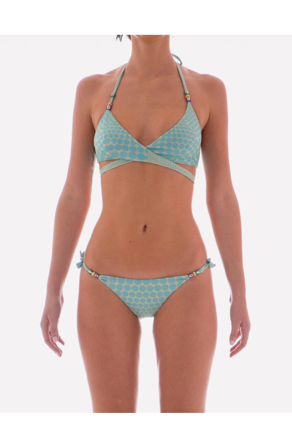 Brassiere Bikini con incrocio sul davanti stampa Optical Pois