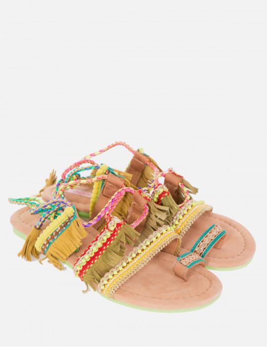 Sandalo Infradito  Multicolor con Frange