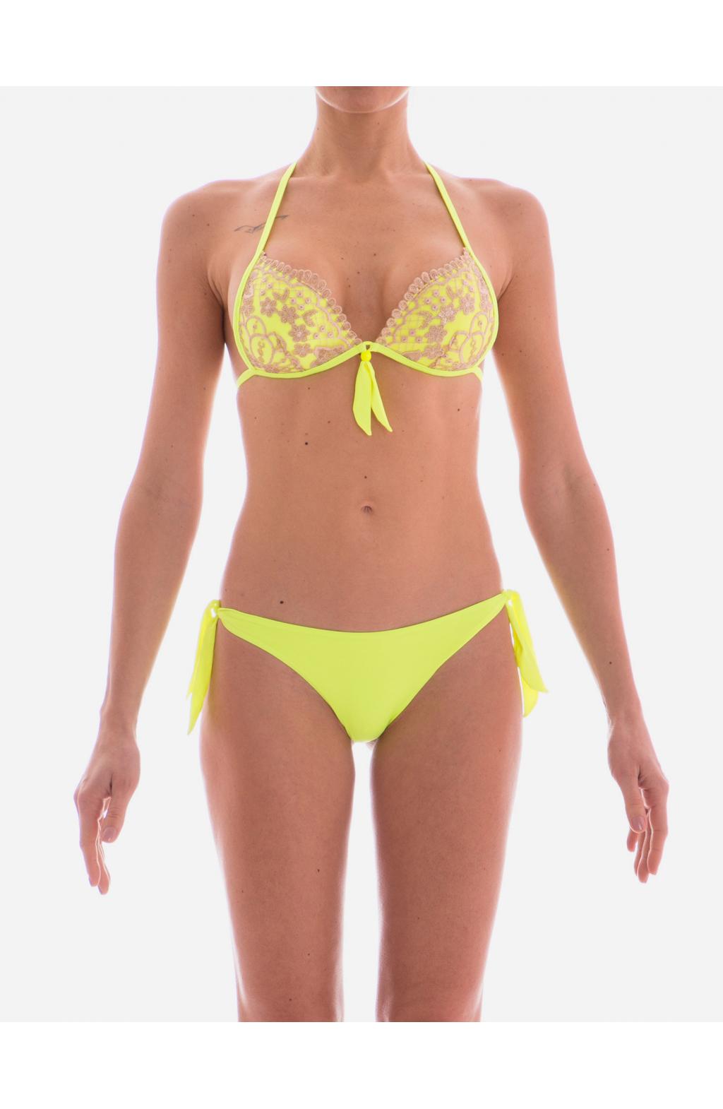 Bikini Triangolo Fisso Push Up Pizzo e Paillettes