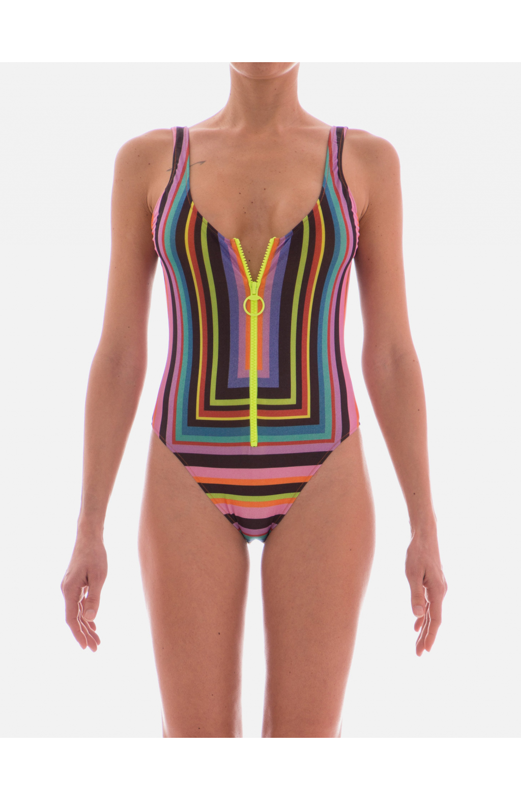 One Piece Swimsuit Central Zip Optical Line