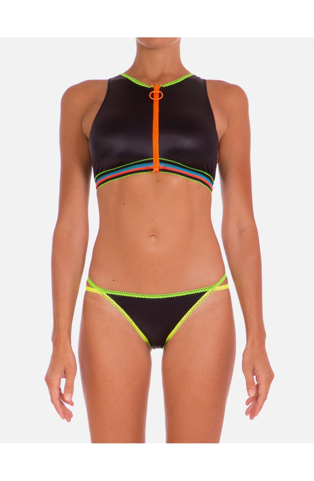 Bikini Top con Zip Tinta Unita Profili Fluo