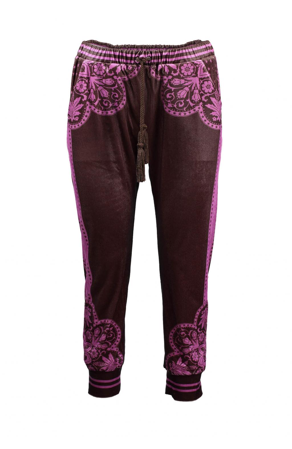 Pantalone ciniglia stampa velvet maiolica