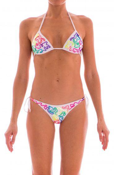 Bikini Triangolo Scorrevole Tinta Unita Ricami Fluo Pin-Up Stars - 1
