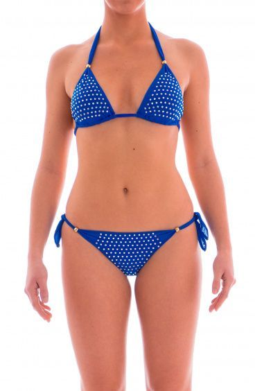 Bikini triangolo scorrevole microtulle doppiato e ricamo strass Pin-Up Stars - 1