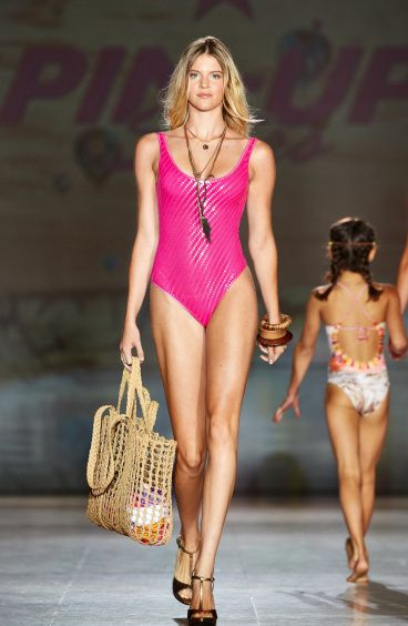 One Piece Swimsuit Tulle with Paillettes Pin-Up Stars - 4