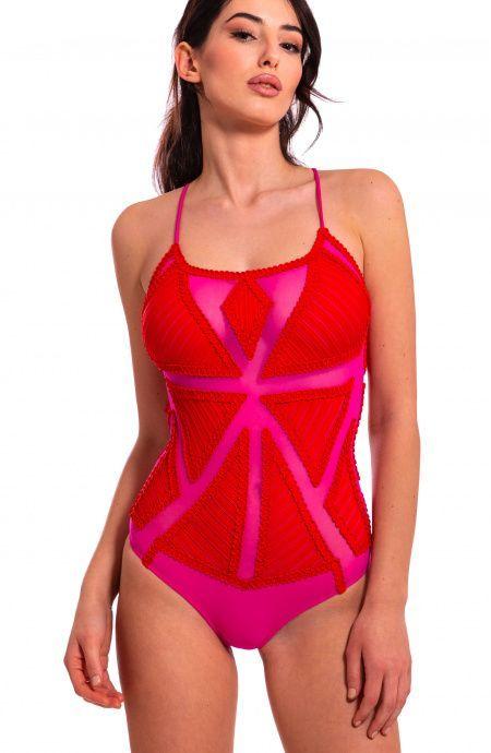 Costume da Bagno Intero in Tulle Ricamato Pin-Up Stars - 4