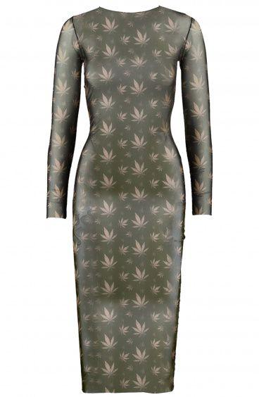 Sheath dress longuette long-sleeved Microtulle bi-elastic press Marijuana Poisson D'Amour - 1