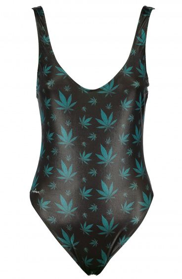 One Piece and One color Olympic Swimsuit Marijuana Print Poisson D'Amour - 1