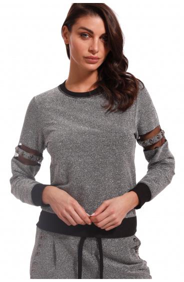 Lurex Sweatshirt Pin-Up Stars - 1