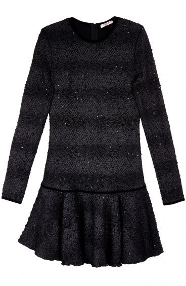 Long Sleeves Dress with Flounce and snake flakes fabric Pin-Up Stars - 1