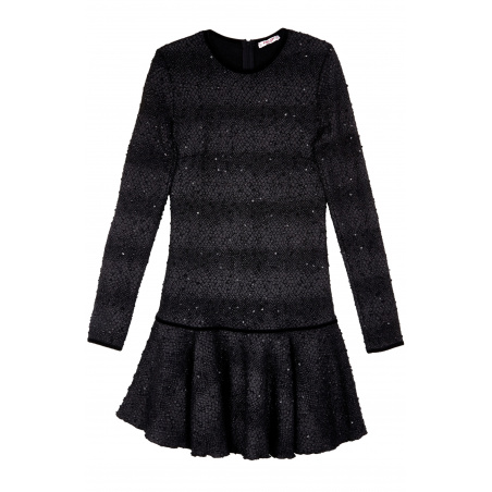 Long Sleeves Dress with Flounce and snake flakes fabric