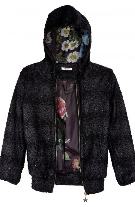 Hoodie with Snake Flakes Fabric Pin-Up Stars - 1