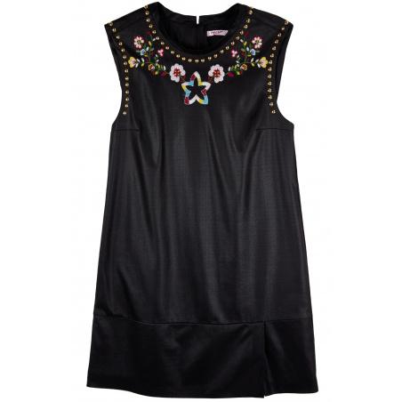 Sleveless Floral dress in vegan leather