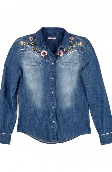 Camicia Jeans Ricamo Folk Pin-Up Stars - 1