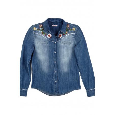 Camicia Jeans Ricamo Folk