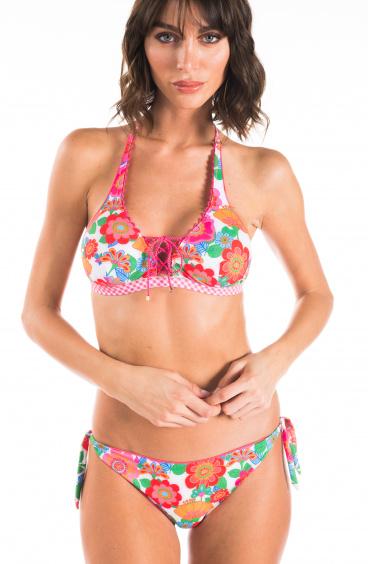 Bikini Brassiere Fiore Campo Con Incrocio Glitter Lady Pin-Up Stars - 1