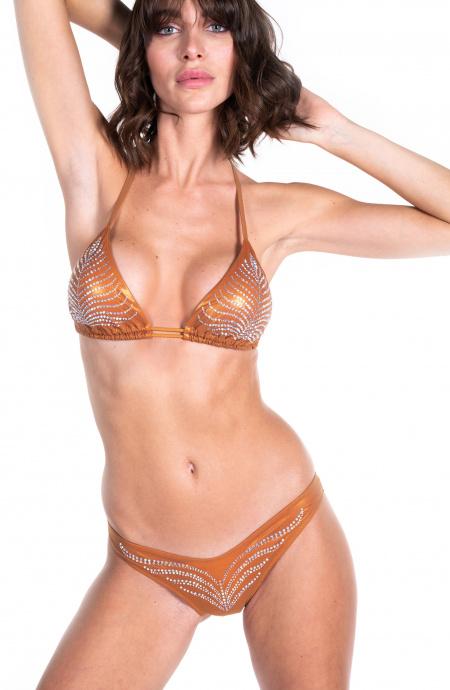 Bikini Triangolo Scorrevole Foglia Sgambato Con Strass Pin-Up Stars - 10