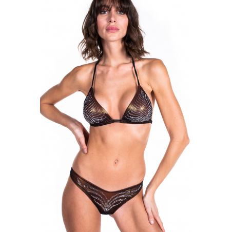 Bikini Triangolo Imbottito Slip Sgambato Foglia Strass