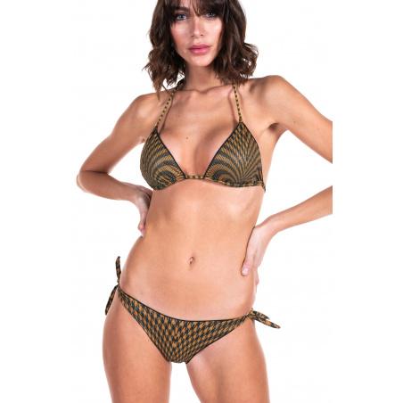 Bikini Triangolo Imbottito Slip Fiocchi Pied de Poule