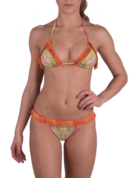 Bikini Triangolo con frangine e stampa Cuore Tie & Dye