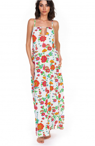 Long Dress Naked Back Field Flower Pin-Up Stars - 1
